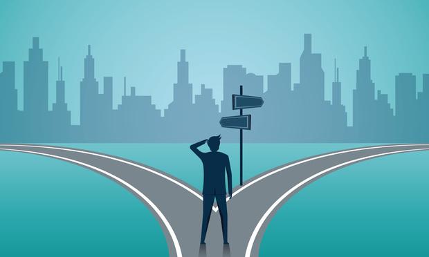 Businessmen Facing Crossroad