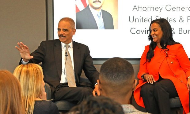 Eric Holder, former U.S. AG and current partner at Covington, and Brogiin Keeton, head of litigation at Evercore