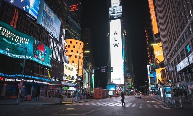 An empty street in New York's Times Square during the coronavirus pandemic.