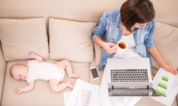 stock photo working mother