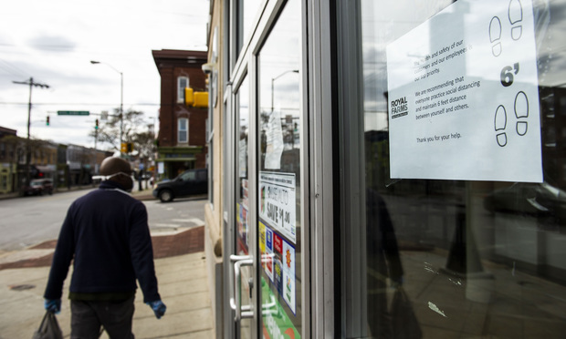 A storefront in the Hampden neighborhood of Baltimore on March 24, 2020, a day after Gov. Larry Hogan ordered all non-essential Maryland businesses closed to try to control the spread of the COVID-19 virus. Hogan was one of several governors blasting a suggestion that states should turn to bankruptcy. (Photo: Diego M. Radzinschi/ALM)