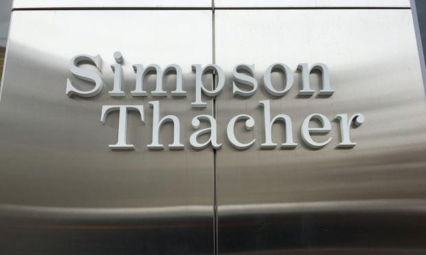 Simpson Thacher & Bartlett office sign. Photo: Diego M. Radzinschi/NLJ