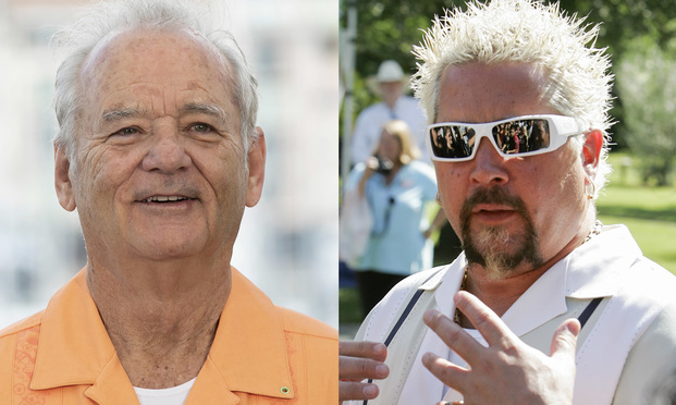 Actor Bill Murray and celebrity chef Guy Fieri (Shutterstock/Flickr)
