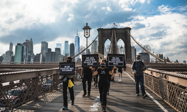 Protestors march from Foley Square over the Brooklyn bridge to rally over the death of George Floyd Photo: Ryland West/ ALM