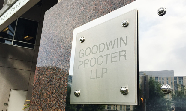 Goodwin-Procter-sign (Photo: Diego M. Radzinschi/ALM)