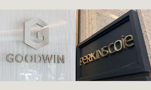 Goodwin Procter and Perkins Coie signs.