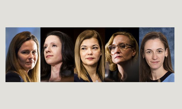 Potential Supreme Court nominees Amy Coney Barrett, Allison Jones Rushing, Barbara Lagoa, Joan Larsen, and Kate Comerford Todd. Photos: Diego M. Radzinschi/ALM/Handout