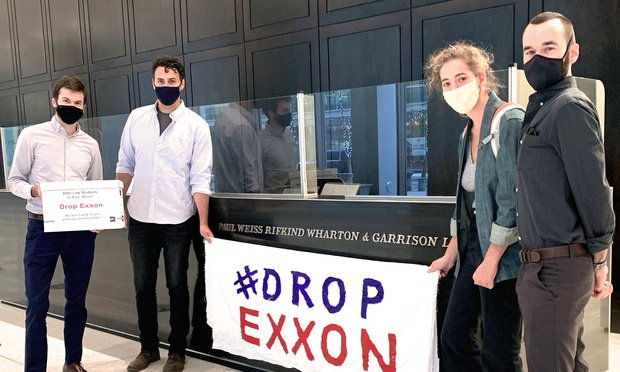 Members of the Law Students for Climate Accountability Group drop off signatures at the Manhattan offices of Paul, Weiss, Rifkind, Wharton & Garrison. (Courtesy photo)