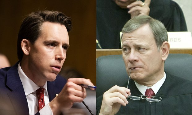 Senator Josh Hawley (R-MO) and Chief Justice John Roberts