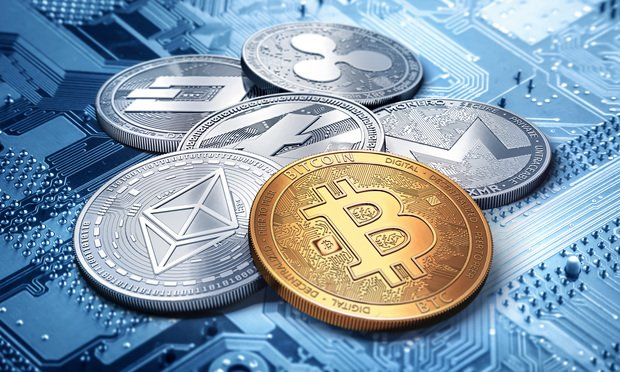 stack of cryptocurrencies: bitcoin, ethereum, litecoin, monero, dash, and ripple coin together, 3D rendering. New virtual money. Photo: by Wit Olszewski/Shutterstoc