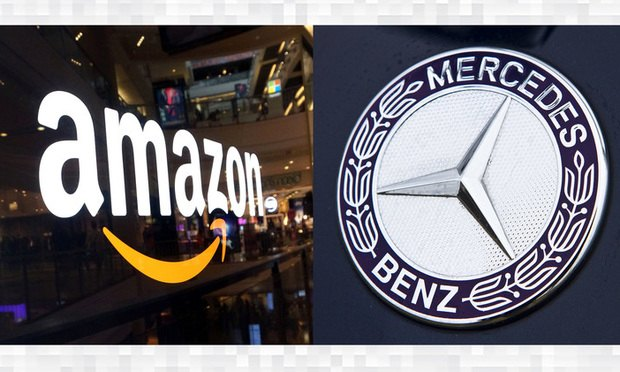 Amazon and Mercedes Benz logos