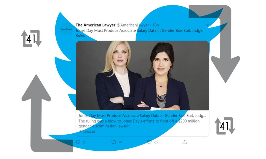 """Photo illustration of a Tweet of The American Lawyer story """"Jones Day Must Produce Associate Salary Data in Gender Bias Suit, Judge Rules"""""""