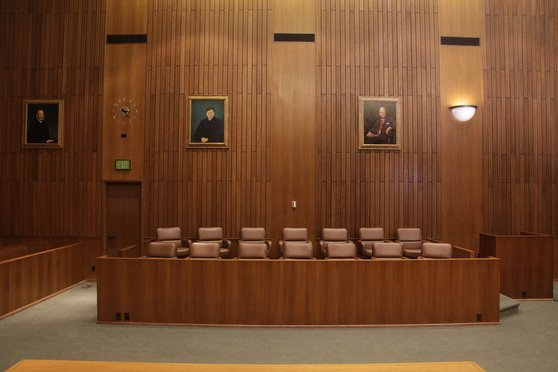 Photograph of an empty jury box in San Francisco federal court.