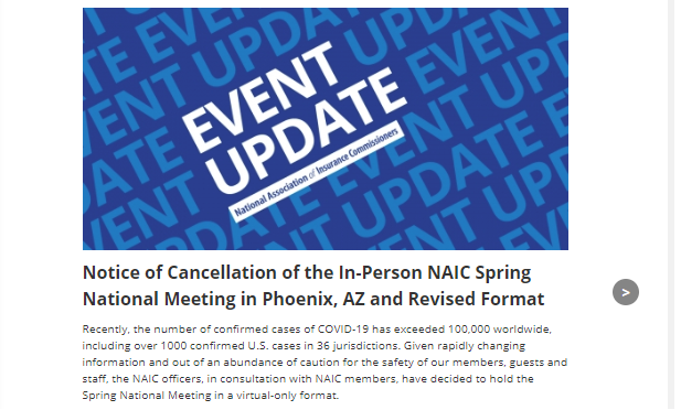 An event update that says the in-person meeting in Phoenix has been canceled.