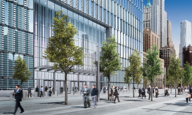 An architectural rendering of the proposed entrance to One World Trade Center on Fulton St.
