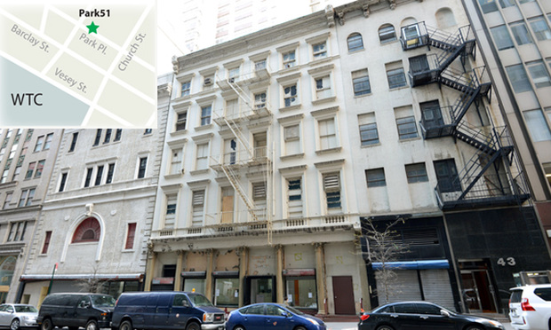 51 Park Place, center, site of the proposed Islamic center in lower Manhattan originally called the Cordoba House and now called Park51.