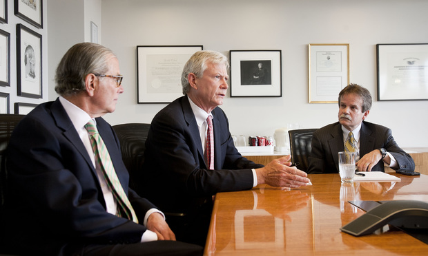 (l-r) Joel Jankowsky, Don Pongrace, and Jorge Lopez Jr., of Akin Gump Strauss Hauer & Feld.