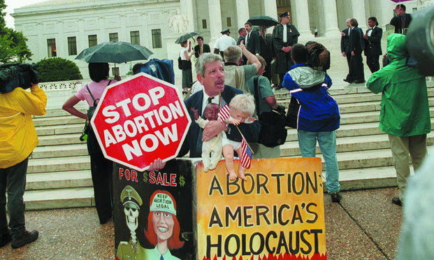 Anti-abortion protester on day of partial-birth abortion ruling.