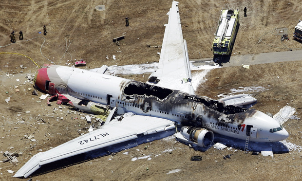 Asiana Flight 214 airplane after it crashed at the San Francisco International Airport in San Francisco.