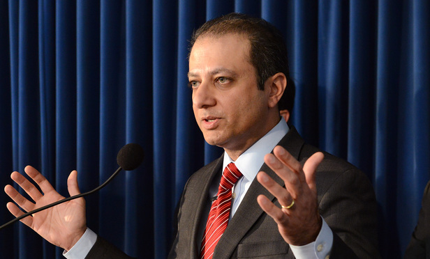 U.S. Attorney Preet Bharara at a press conference in January