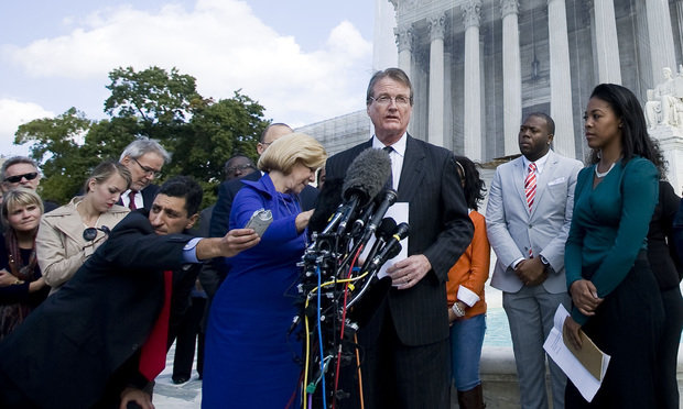 University of Texas president Bill Powers outside the U.S. Supreme Court after arguments in 'Fisher v. University of Texas.'