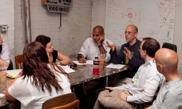 Professor Jonathan Askin leads a meeting of the Brooklyn Law Incubator and Policy Clinic.