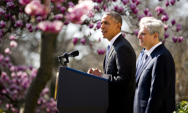 President Barack Obama, announces the nomination of chief judge Merrick Garland, right, to the U.S. Supreme Court, at the Rose Garden. March 16, 2016.