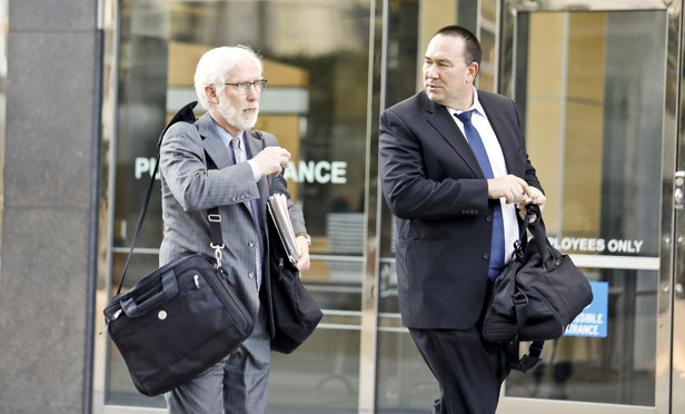 Ivo Labar and James Wagstaffe, Kerr & Wagstaffe leave the U.S. District Court for the Northern District of California.
