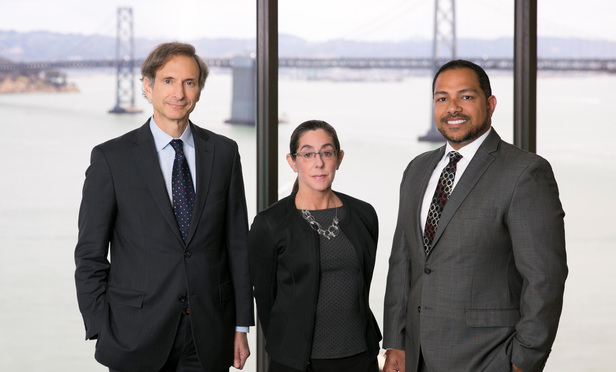 Left to right: Steptoe partners Bill Abrams, Laurie Edelstein and Sanjeet Dutta in Steptoe's San Francisco office
