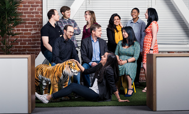 Portrait of the legal team plus interns of Wikimedia Foundation Inc. Pictured (left to right), back row: James Buatti, Stephen LaPorte, Rachel Stallman, Mehtab Khan, Aeryn Palmer, Yana Welinder; middle row: Jacob Rogers, Geoff Brigham, Michelle Paulson; front row: Rory (the mascot tiger), Manprit Brar. Photo by Winni Wintermeyer, taken at the company's headquarter in downtown San Francisco. April 1, 2015.