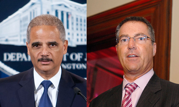 Eric Holder Jr., left, and Brad Karp, right.