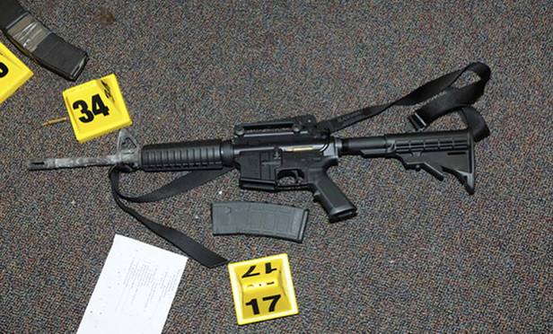 The Bushmaster AR-15 rifle Adam Lanza used in the December 2012 shooting at an elementary school in Newtown, Connecticut. The shooting killed 20 children and six adults.
