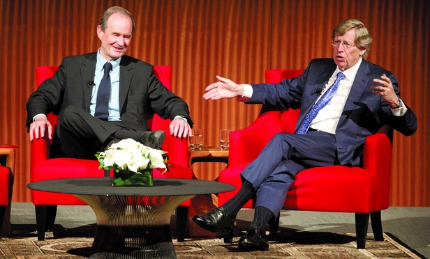 Attorneys David Boies, left, and Theodore B. Olson discuss the issue of gay marriage at the Civil Rights Summit at the LBJ Presidential Library, Tuesday, April 8, 2014 in Austin, Texas.