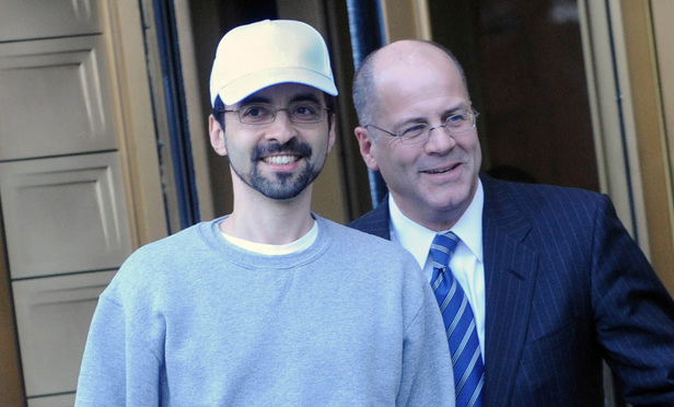 Sergey Aleynikov, left, exits Manhattan federal court with his attorney, Kevin Marino, in February 2012.
