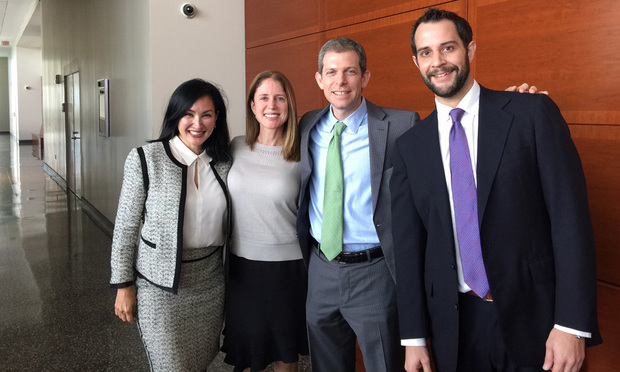 Miami developer Rebecca Gheiler (second from left) with her attorneys, Margot Moss (left), David O. Markus (third from left) and Todd Yoder (right).