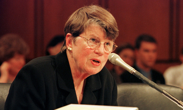 Attorney General Janet Reno testifies before the Senate Judiciary Committee during a oversight hearing on 1996 campaign finance investigation, June 27, 2000