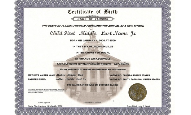 Florida birth certificate