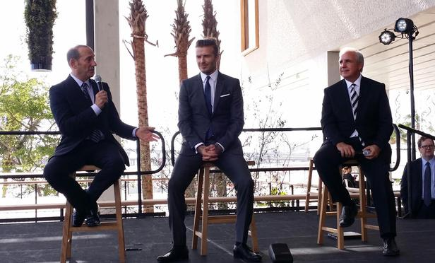 MLS Commissioner Don Garber, David Beckham and Carlos Gimenez