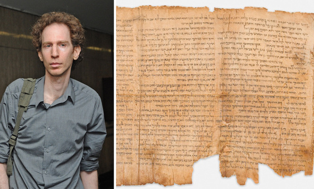 'The Great Isaiah Scroll,' part of the Dead Sea Scrolls found at Khirbet Qumran in the West Bank. Left: Raphael Golb, son of a Dead Sea Scroll scholar, in Manhattan Supreme Court in 2010..