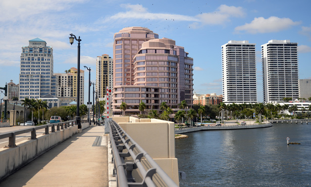Flagler Drive in West Palm Beach. This is the southern end of the new proposed financial district, anchored on the left by the Esparante building.