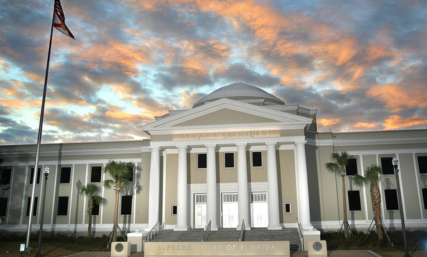 Sunset falls over the Florida Supreme Court building