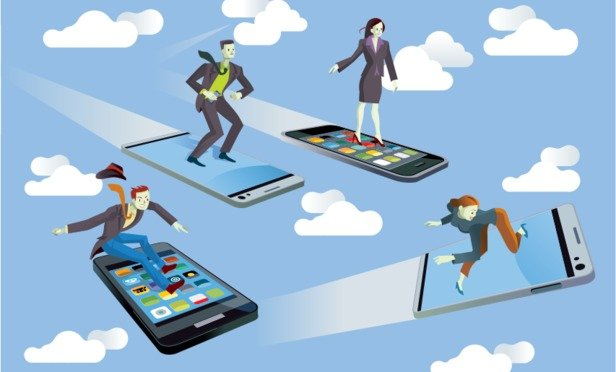 Business people on flying smartphones.