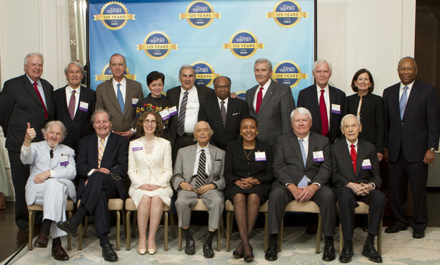 Here are the lifetime achievement award winners who attended Wednesday's event. Back row, from left: Roy Barnes, Clay Long, Ben F. Johnson III, Chilton Davis Varner, Miles Alexander, Robert Benham, Michael Bowers, Laughlin McDonald, Patricia Barmeyer and Larry Thompson. Front row, from left: Bobby Lee Cook, Sonny Morris, Linda Klein, Horace Ward, Leah Ward Sears, Oscar Persons and Marvin Shoob.