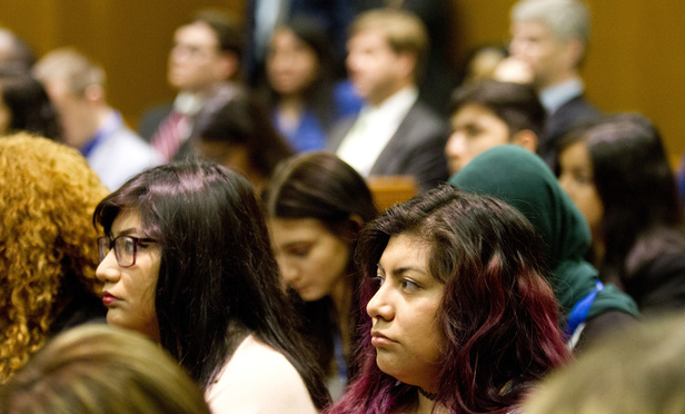 In support of the 10 students seeking in-state tuition under the DACA law, young people fill the courtroom during oral arguments at the Georgia Court of Appeals on Thursday.