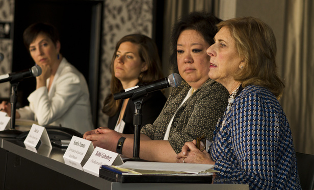 L-R Lori Andrus, Dana Alvare, Jean Lee, Sandra Yamate and Roberta Liebenberg during the Women Plaintiffs Lawyers Conference Panel 1 on the Status of Current Class-Action/MDL Appointments of Womenand Minority Lawyers.