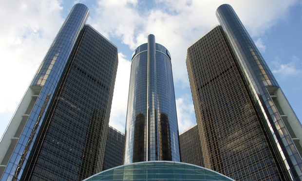 The General Motors Headquarters, located in Detroit, Michigan.