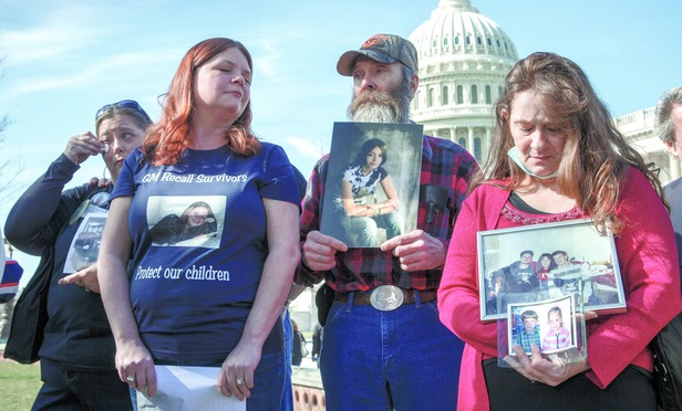 Family members of people killed in accidents attributed to General Motors' defective ignition switch gathered in Washington on April 1, 2014.