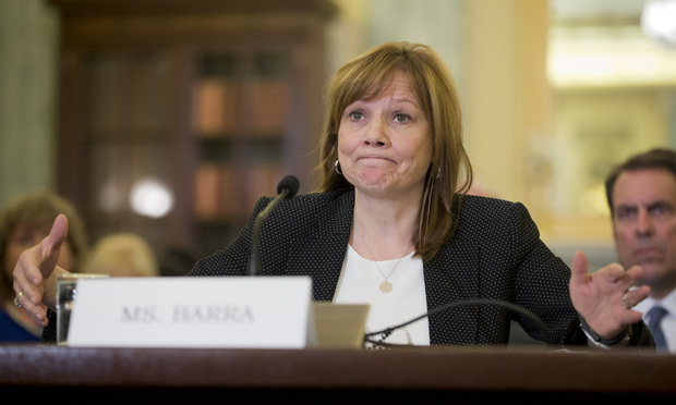 General Motors CEO Mary Barra testifies on Capitol Hill in Washington, Wednesday, April 2, 2014, before the Senate Commerce, Science and Transportation subcommittee.