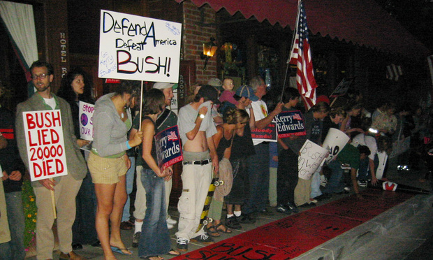 Protesters in Jacksonville, Oregon, where President George W. Bush was scheduled to spend the night in 2004 while campaigning for a second term.