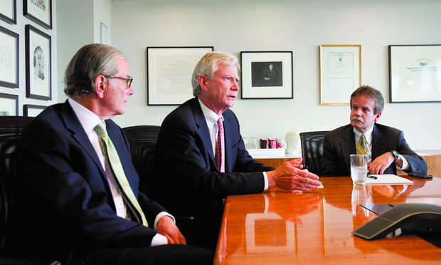 GONE: Akin Gump— home to, from left, Joel Jankowsky, Don Pongrace, and Jorge Lopez Jr.—is hiring four health care policy lawyers from Patton Boggs, which on Sunday merged with Squire Sanders.